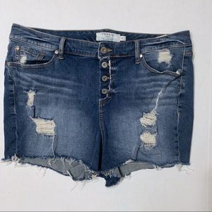 Torrid Distressed Cutoff Button Fly Jean Shorts